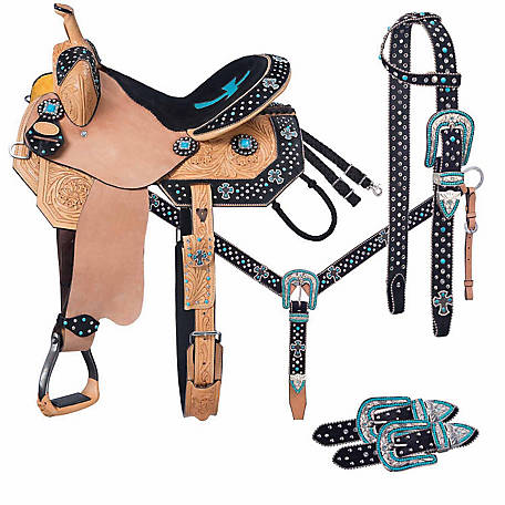 Silver Royal Cheyenne Belt Buckle Bling Collection 5-Piece Saddle Package