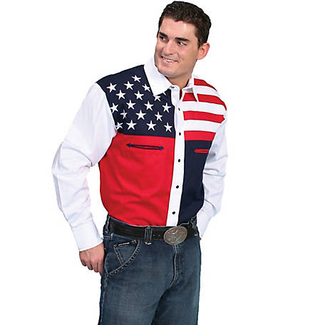Scully Patriot Collection Men's 100% Cotton Snap Front Shirt