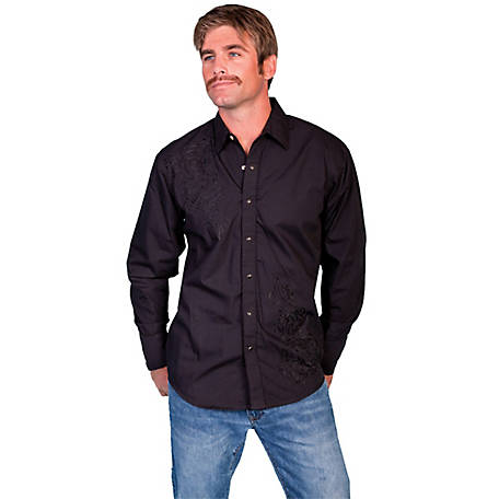 Scully Legends Men's Snap Front Shirt With Tonal Yokes Front Embroidery