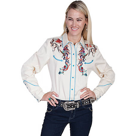 Scully Legends Women's Full Color Embroidered Horse and Flower Shirt