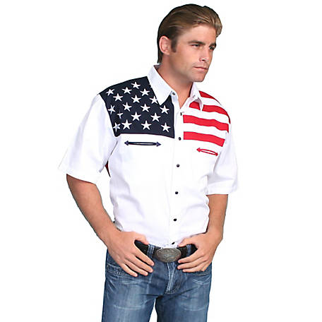 Scully Patriot Collection Men's 100% Cotton Snap Front Short Sleeve Shirt