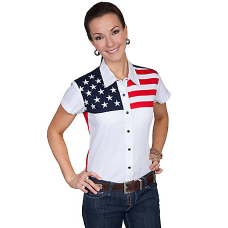 Scully Patriot Collection 100% Cotton Snap Front Cap Sleeve Blouse
