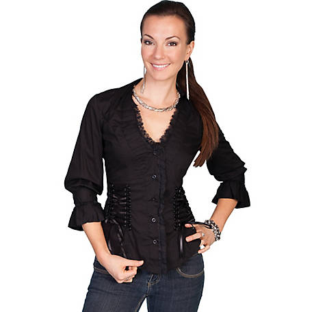 Scully Cantina Collection Women's 3/4 Sleeve Ruffled Blouse with Lace-Up Back