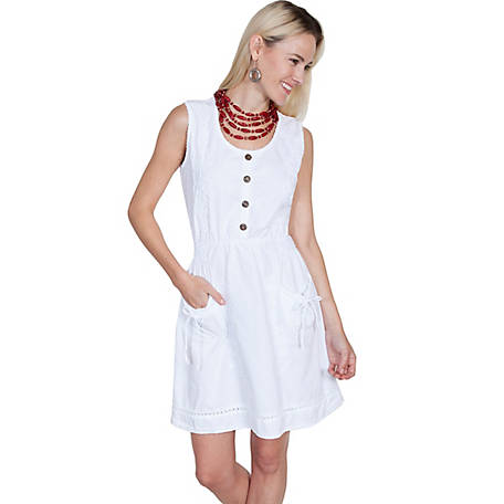 Scully Women's Sleeveless Cotton Dress with Button Front