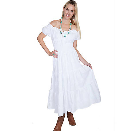 Scully Women's 100% Peruvian Cotton Cap Sleeve Off The Shoulder Long Dress