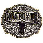 Montana Silversmiths Attitude Cowboy Up Says the Bull Two-Tone Belt Buckle