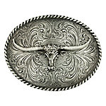 Montana Silversmiths Attitude Oval Longhorn Classic Antiqued Belt Buckle