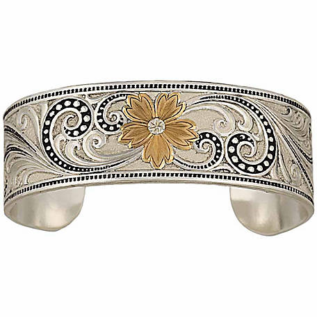 Montana Silversmiths Two Tone Western Lace Whisper Garden Cuff Bracelet At Tractor Supply Co