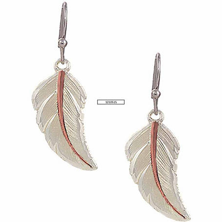 Montana Silversmiths Two-Tone Copper No Dream Is Too Small Feather Earrings