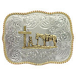 Montana Silversmiths German Silver Christian Cowboy Western Belt Buckle