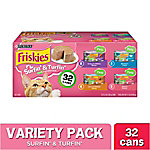 Friskies Classic Pate Surfin' & Turfin' Favorites Wet Cat Food Variety Pack, 5.5 oz. Can, Pack of 32, 11 lb.