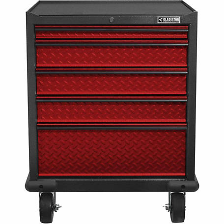 Gladiator Premier Series Steel 5-Drawer Rolling Garage Cabinet in Racing Red Tread Plate