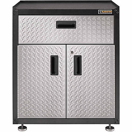 Gladiator Ready-to-Assemble 31 in. H Steel 2-Door Freestanding Garage Cabinet with Drawer in Silver Tread Plate