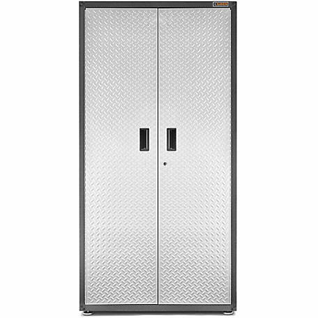 Gladiator Ready-to-Assemble 72 in. H Steel Freestanding Garage Cabinet in Silver Tread Plate