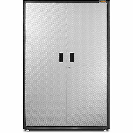 Gladiator Ready-to-Assemble 72 in. H x 48 in. W Steel Freestanding Garage Cabinet in Silver Tread Plate