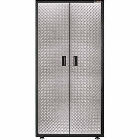 Gladiator Ready-to-Assemble 72 in. H x 36 in. W Steel Freestanding Garage Cabinet in Silver Tread Plate