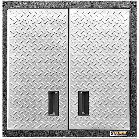 Gladiator Ready-to-Assemble 28 in. H Steel Garage Wall Cabinet in Silver Tread Plate