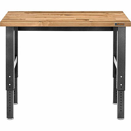 Gladiator Adjustable Height Hardwood Workbench with Hammered Granite Finish, 48 in. W x 24 in. D x 29-42 in. H