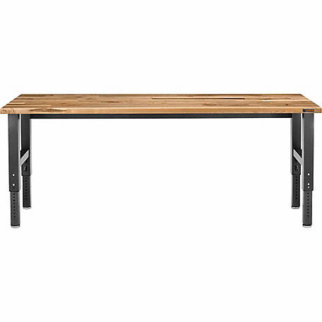 Gladiator 8 ft. Adjustable Height Hardwood Workbench with Hammered Granite Finish, 98 in. W x 24 in. D x 29-42 in. H