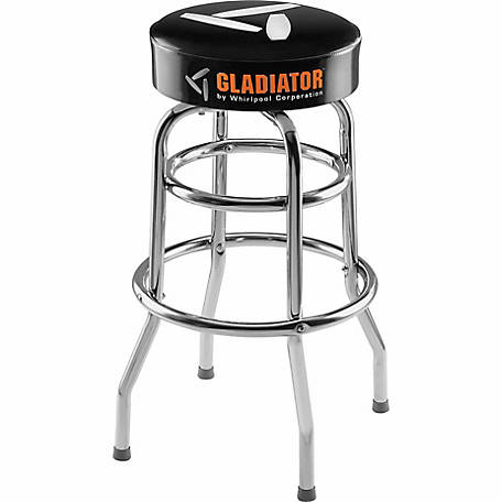 Gladiator Ready To Assemble 30 in. H x 15 in. W Padded Swivel Garage Stool in Black and Chrome