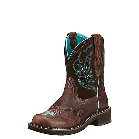 Ariat Women's 8 in. Brown and Turquoise Western Boot