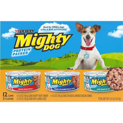 Purina Mighty Dog Hearty Beef Dinner/Chicken and Smoked Bacon Combo/Lamb and Rice Dog Food Variety Pack; 5.5 oz. Can; Pack of 12
