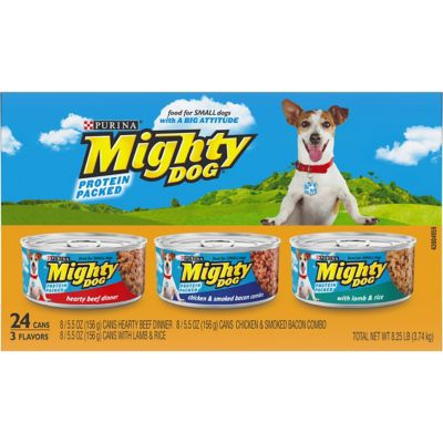 Purina Mighty Dog Hearty Beef Dinner/Chicken & Smoked Bacon Combo/with Lamb & Rice Dog Food; 5.5 oz. Can; Pack of 24