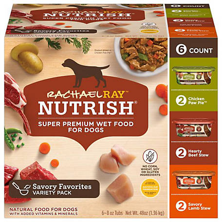 Rachael Ray Nutrish Natural Wet Dog Food Variety Pack, 8 oz. Tub, Pack of 6