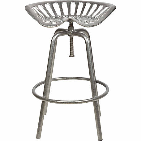 Tractor Seat Stool, Silver