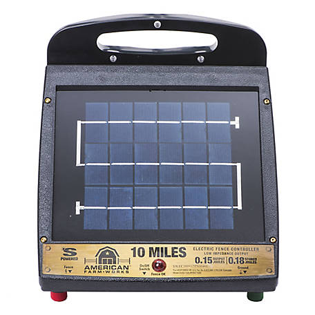 American FarmWorks 10-Mile Solar Low Impedance Fence Charger, ESP10M-AFW