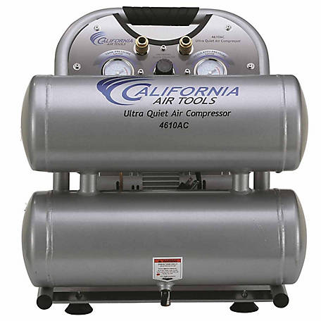 California Air Tools 4610AC Ultra Quiet & Oil-Free 1.0 HP 4.6 Gal. Twin-Tank Electric Portable Air Compressor, Aluminum