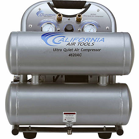 California Air Tools 4620AC Ultra Quiet & Oil-Free 2.0 HP 4.0 Gal. Twin-Tank Electric Portable Air Compressor, Aluminum