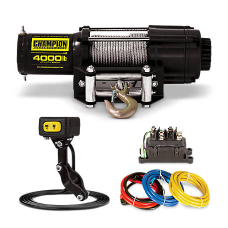 Champion Power Equipment 4,000 lb. ATV/UTV Winch Kit with Mini-Rocker, 14001