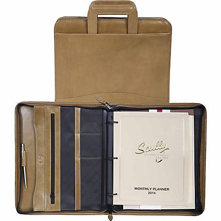 Scully Leather Genuine Leather 3-Ring Zip Binder with Drop Handles, 96Z-06-26-F