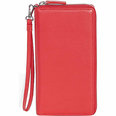Scully Leather Ladies Genuine Leather Zip-Around Slim Clutch with Wrist Strap