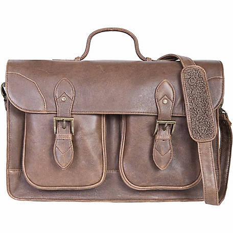 Scully Leather Satchel Brief With Dual Buckle Flap Closure