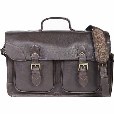 Scully Leather Satchel Brief With Dual Buckle Flap Closure, 604-41-25-F