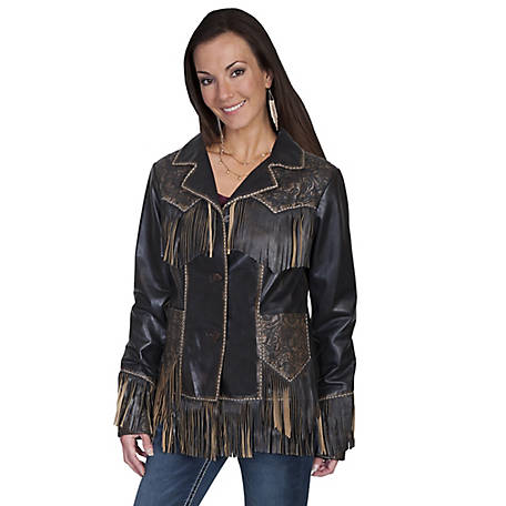 Scully Leather Tooled Fringe Western Jacket
