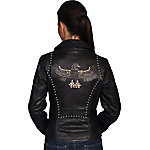 Scully Leather Lamb Motorcycle Jacket with Studded Eagle