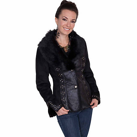 Honey Creek Women's Faux Fur Jacket with Metallic Button Closures