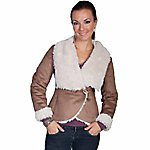 Honey Creek Women's Oversize Faux Fur Collar & Faux Suede Jacket