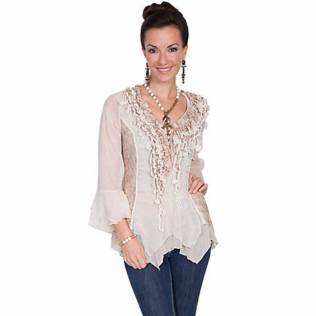 Honey Creek Women's Lace And Ruffle Blouse