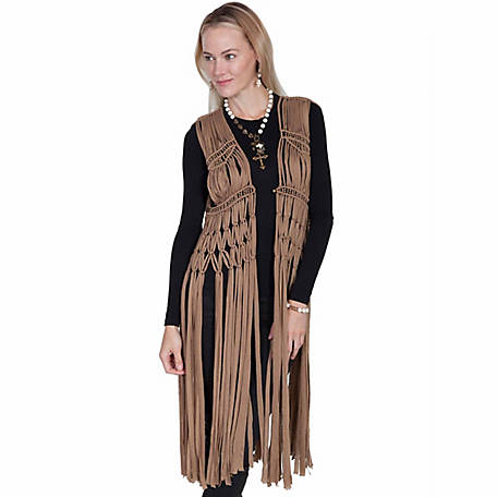 Honey Creek Women's Macrame Knotted Fringe & Bead Vest