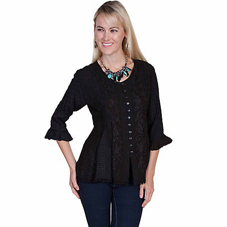 Honey Creek Women's Rayon Multi-Fabric 3/4 Sleeve Blouse