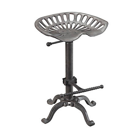 Carolina Chair & Table Vintage-Style Iron Adjustable Height Tractor Seat Stool, Industrial Finish