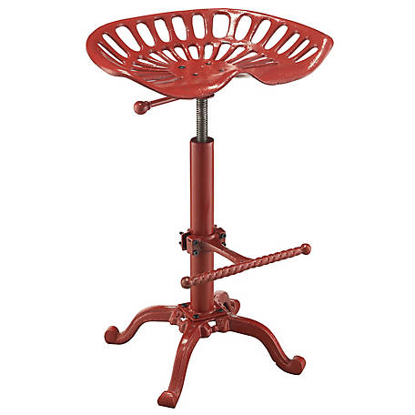 Carolina Chair & Table Vintage-Style Iron Adjustable Height Tractor Seat Stool, Red Finish