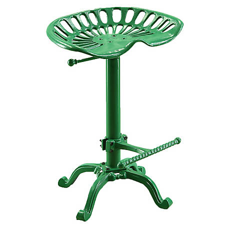 Carolina Chair & Table Vintage-Style Iron Adjustable Height Tractor Seat Stool, Green Finish
