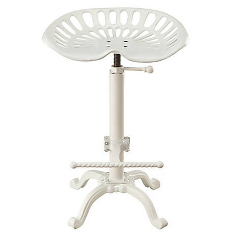 Carolina Chair & Table Vintage-Style Iron Adjustable Height Tractor Seat Stool, White Finish