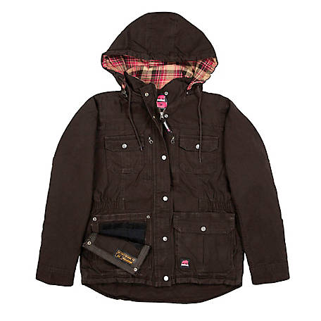 Berne Women's Washed Dark Brown Duck Quilted Flannel-Lined Hooded Coat with Concealed Weapon Pockets