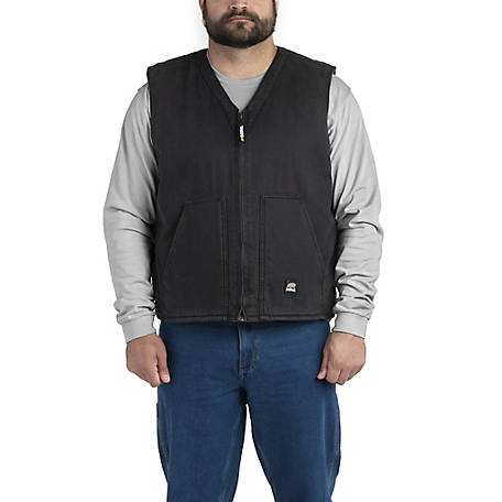 Berne Washed Black Duck Sherpa-Lined V-Neck Vest
